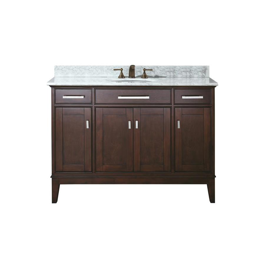 Avanity Madison Espresso 49-in Undermount Single Sink Poplar Bathroom Vanity with Natural Marble Top