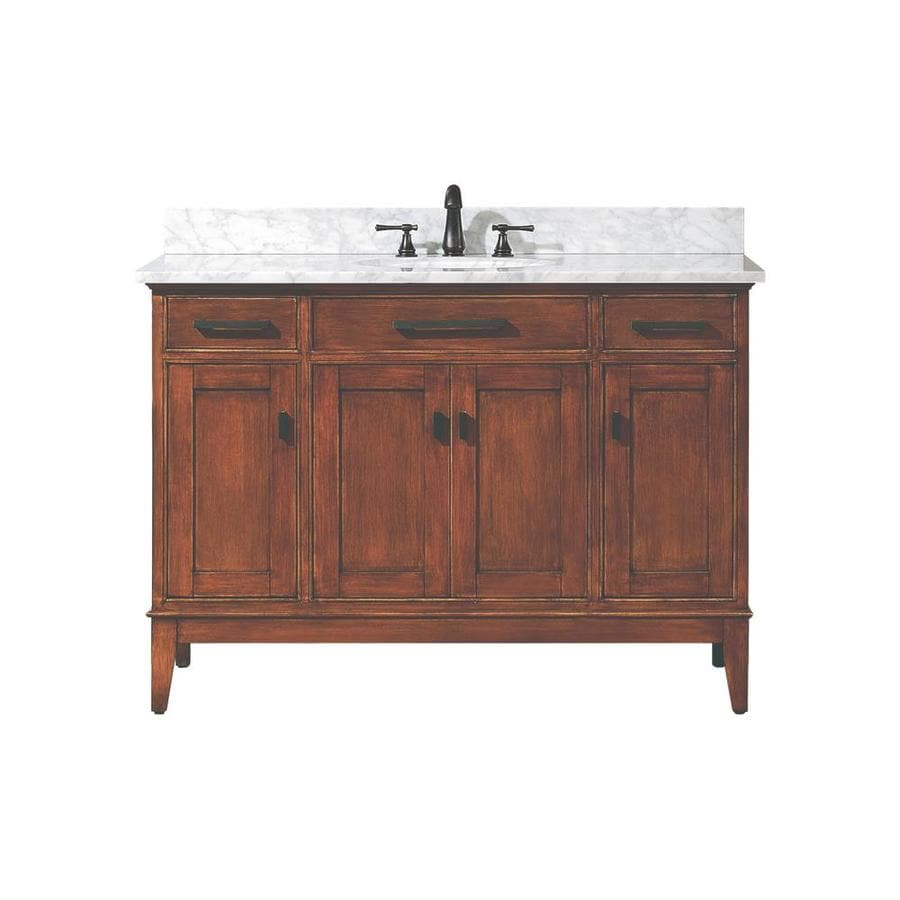 Avanity Madison Tobacco 49-in Undermount Single Sink Poplar Bathroom Vanity with Natural Marble Top