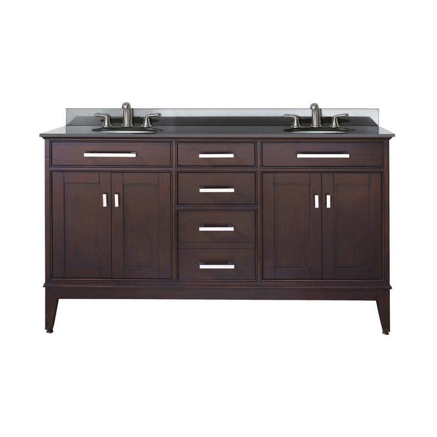 Avanity Madison Espresso Undermount Double Sink Bathroom Vanity with Granite Top (Common: 61-in x 22-in; Actual: 61-in x 22-in)