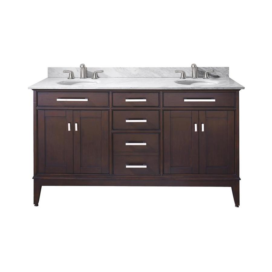 Avanity Madison Espresso 61-in Undermount Double Sink Poplar Bathroom Vanity with Natural Marble Top