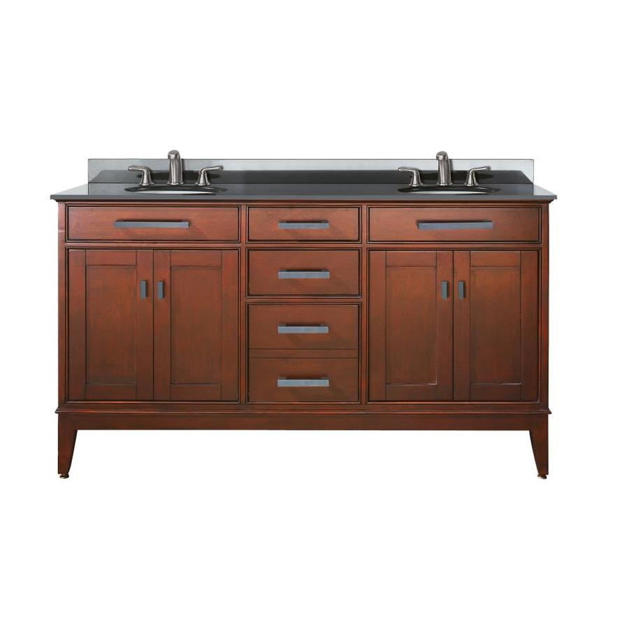 Shop avanity madison tobacco undermount double sink bathroom vanity with granite top common 61 - Double bathroom vanities granite tops ...
