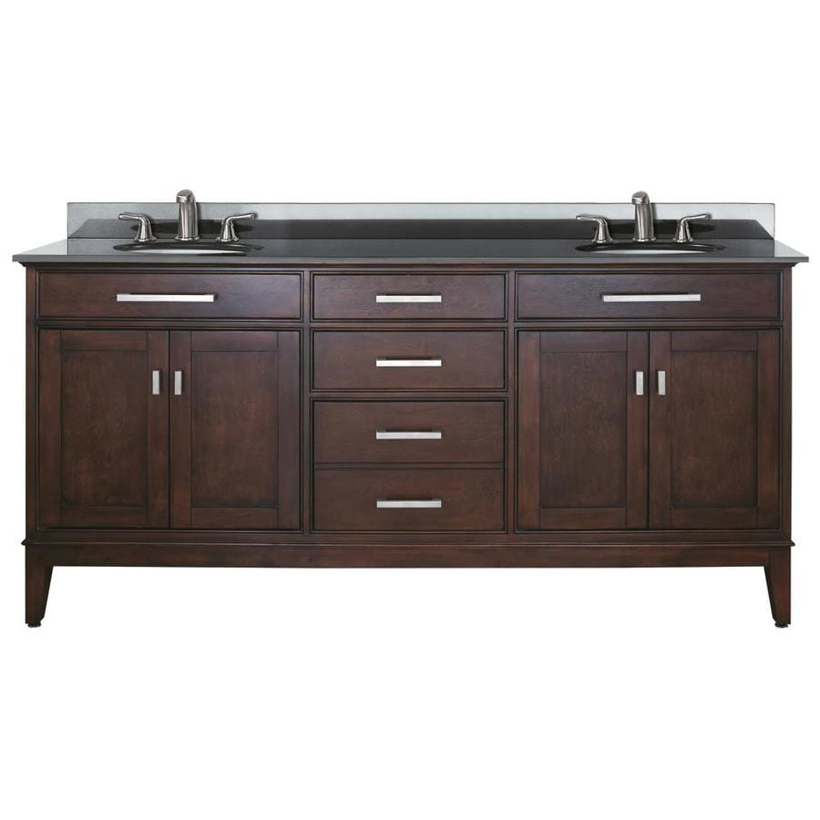 Shop avanity madison espresso undermount double sink for Granite bathroom vanity