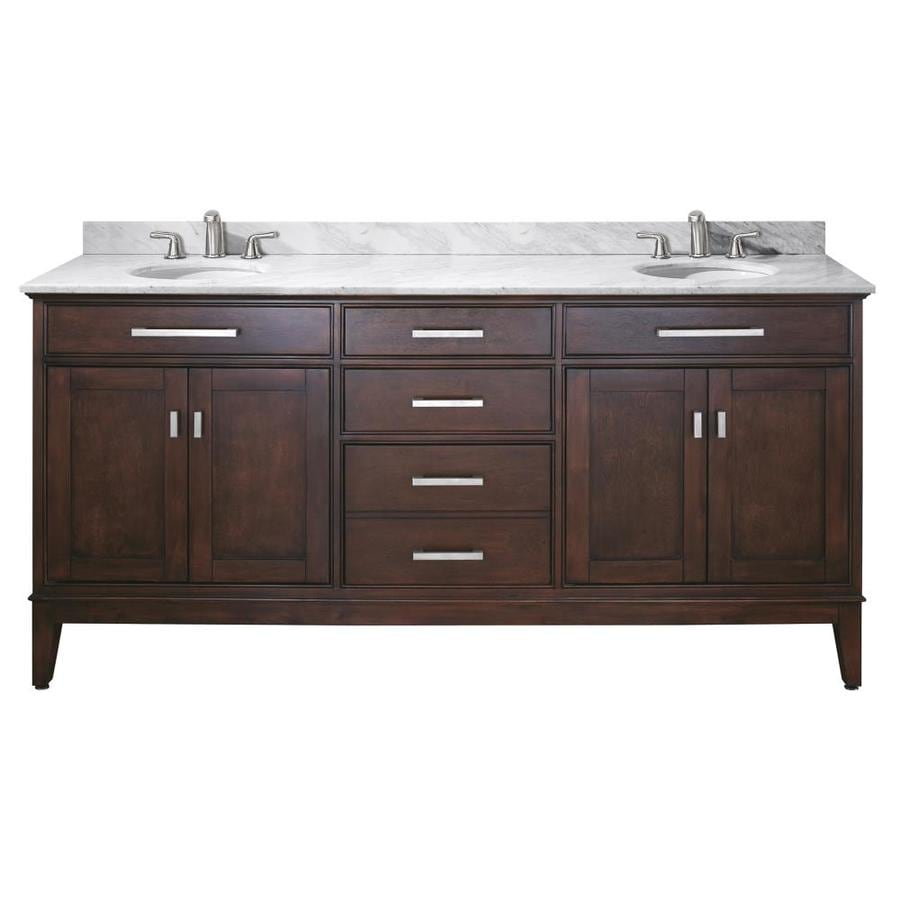 Avanity Madison Espresso 73-in Undermount Double Sink Poplar Bathroom Vanity with Natural Marble Top