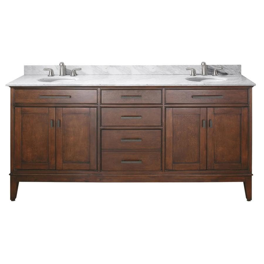 Avanity Madison Tobacco 73-in Undermount Double Sink Poplar Bathroom Vanity with Natural Marble Top