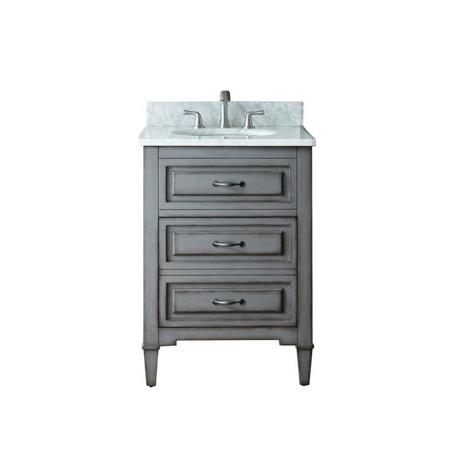 Avanity Kelly Grayish Blue 25-in Undermount Single Sink Poplar Bathroom Vanity with Natural Marble Top