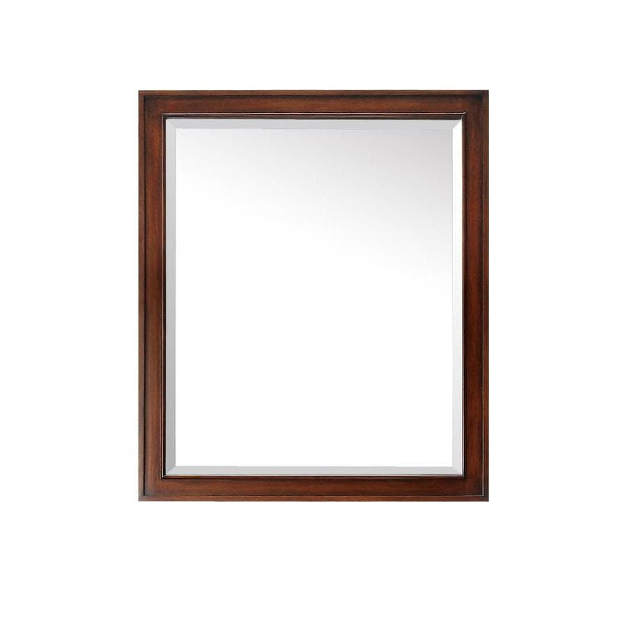 walnut bathroom mirrors shop avanity brentwood 30 in x 35 in new walnut 15015