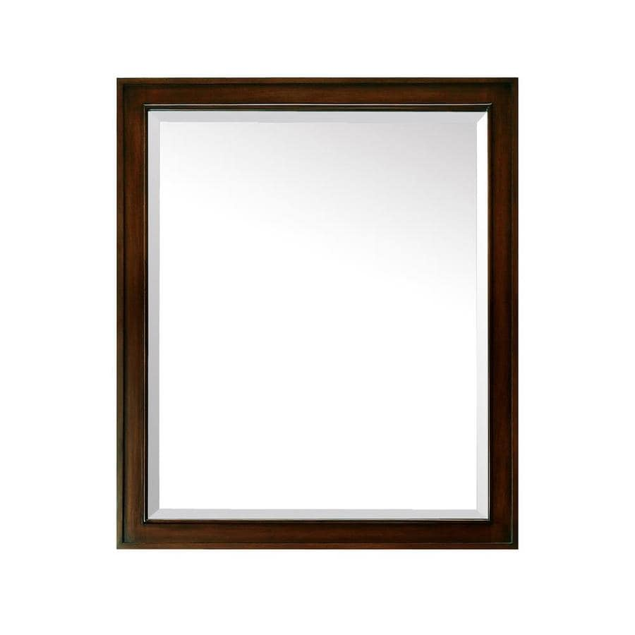 Shop Avanity Madison 28 In Light Espresso Rectangular Bathroom Mirror At