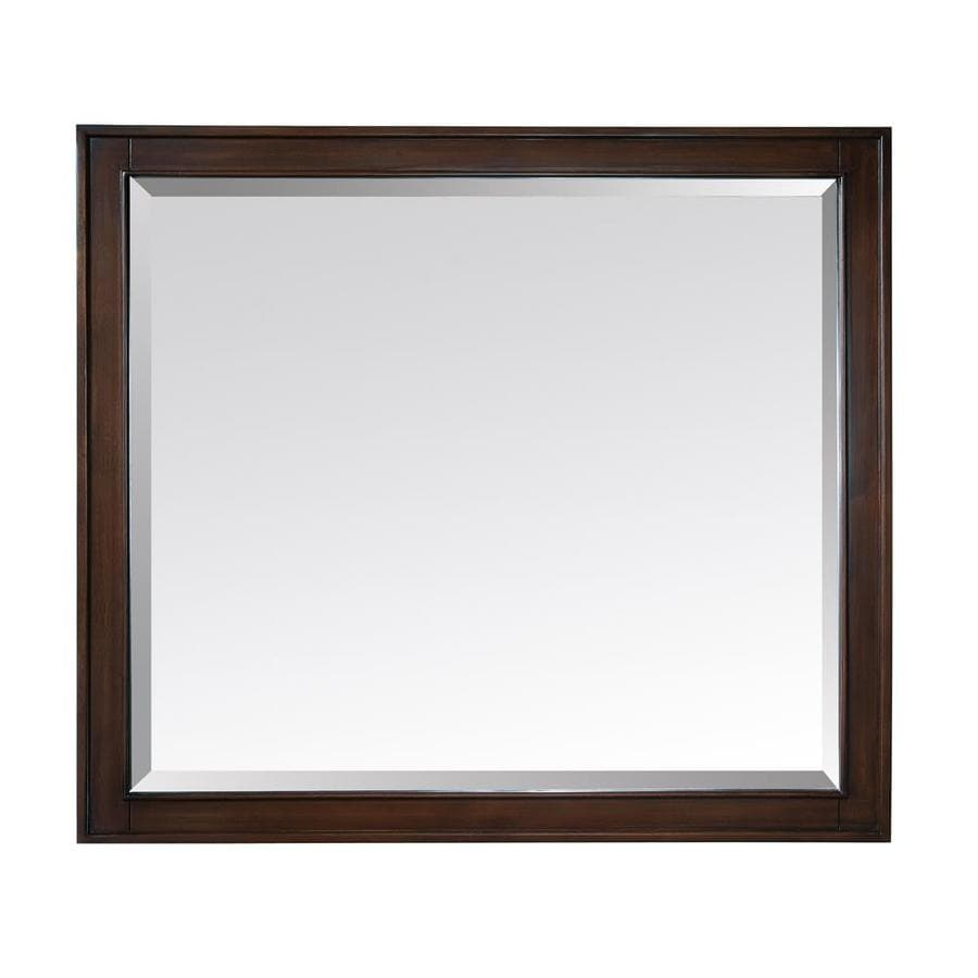 Avanity Madison 36-in x 32-in Light Espresso Rectangular Framed Bathroom Mirror