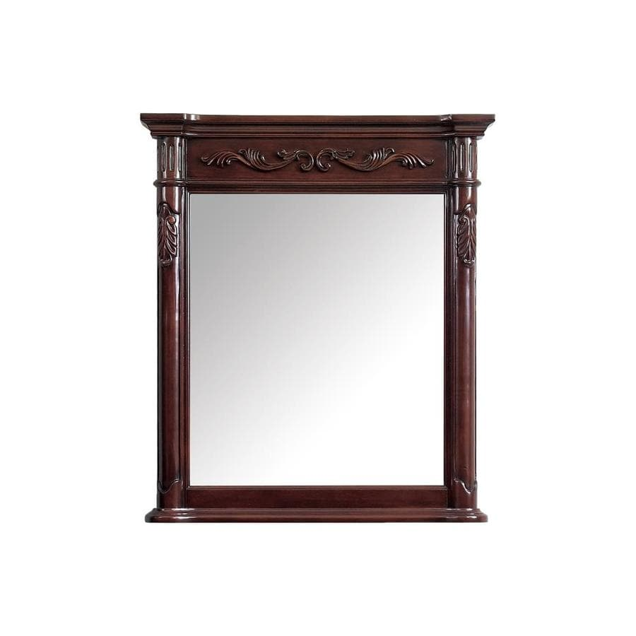 Avanity Provence 30-in x 34-in Antique cherry Rectangular Framed Bathroom Mirror