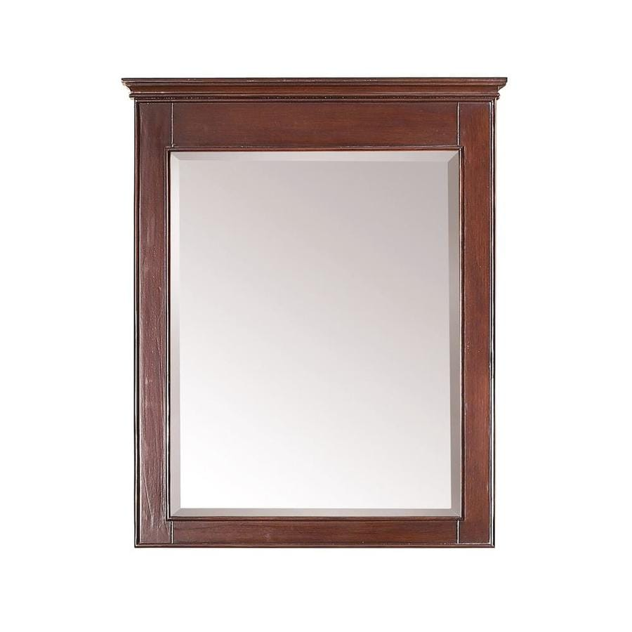 walnut bathroom mirrors shop avanity 30 in w x 36 in h walnut rectangular 15015