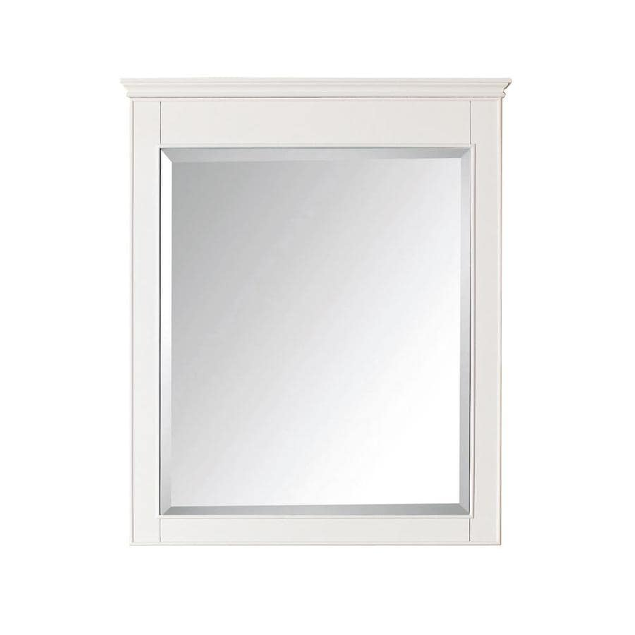 Shop avanity windsor 30 in x 36 in white rectangular for White framed mirror