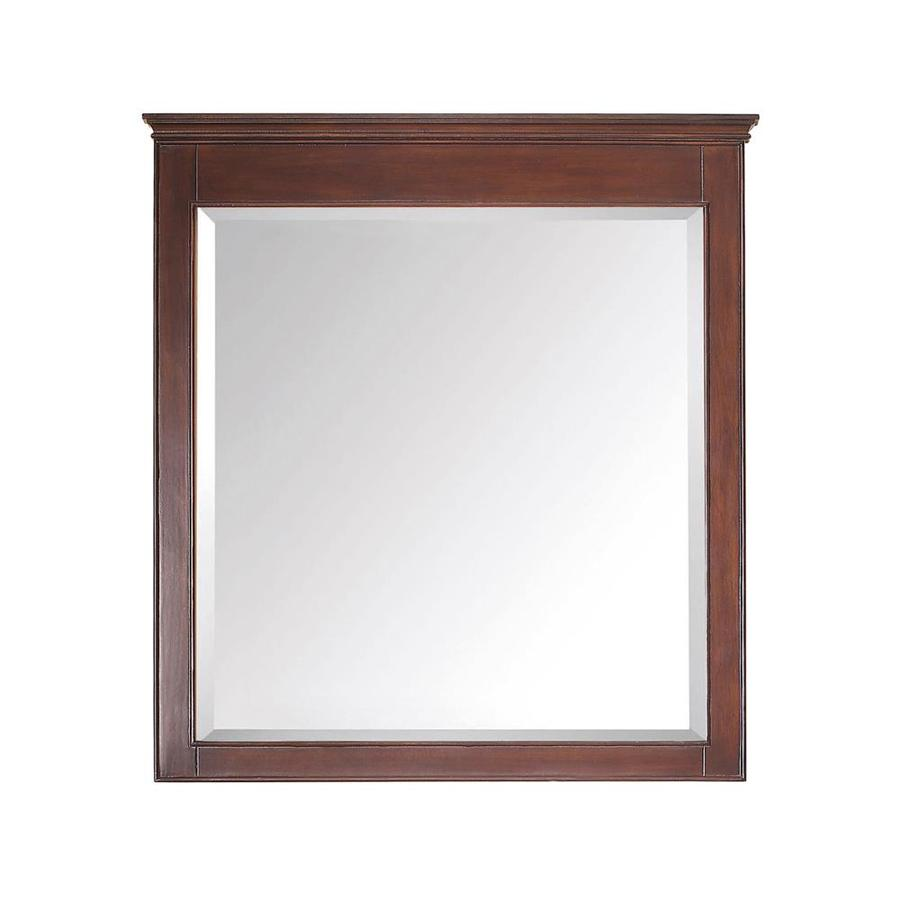 Avanity Windsor 34-in x 38-in Walnut Rectangular Framed Bathroom Mirror