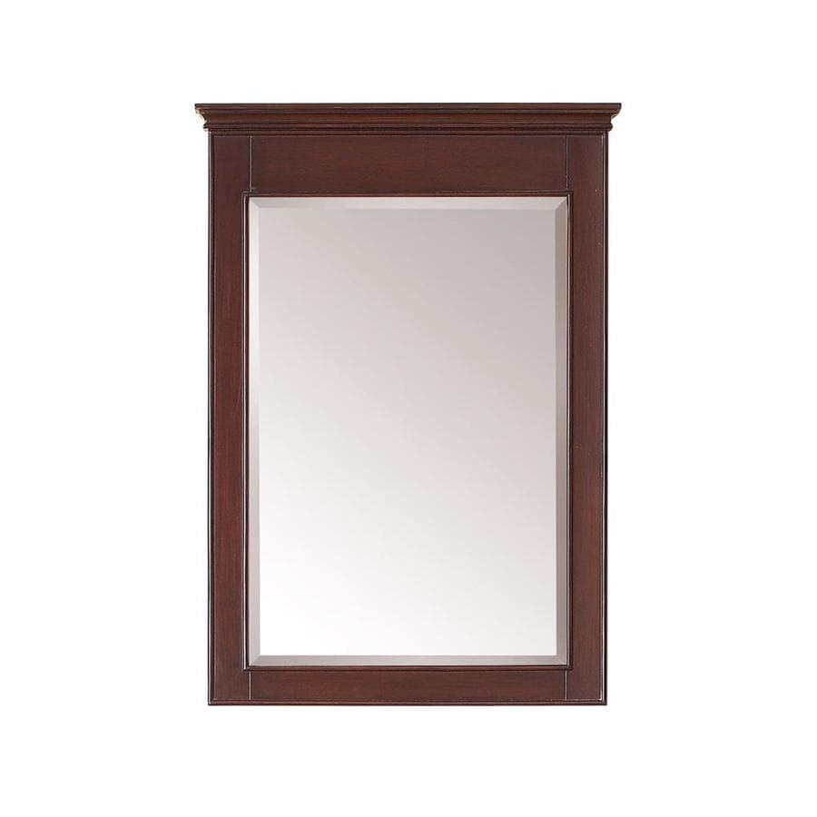 Avanity Windsor 24-in x 34-in Walnut Rectangular Framed Bathroom Mirror