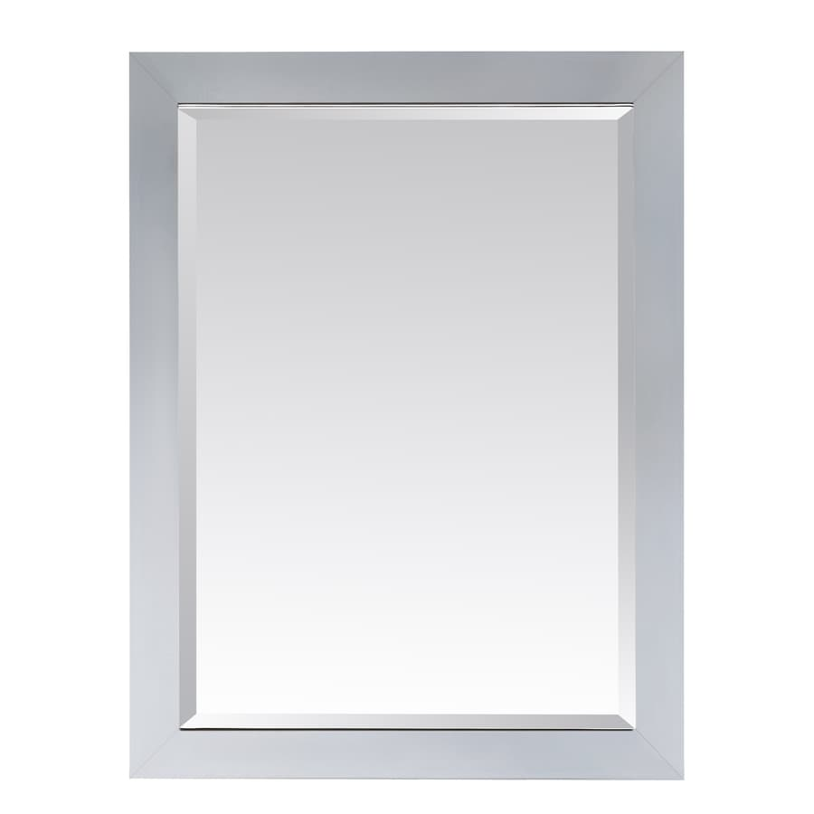 Shop avanity modero 28 in x 32 in white rectangular framed for White framed mirror