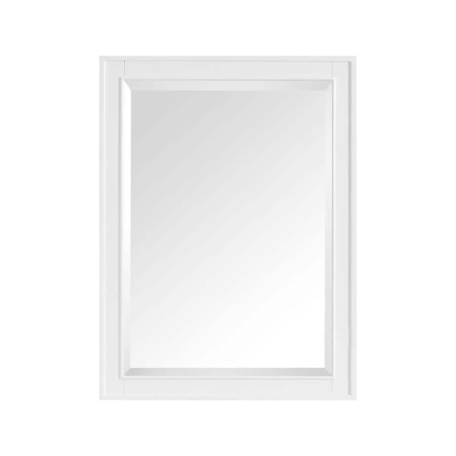Shop avanity madison 24 in x 32 in white rectangular for White framed mirror