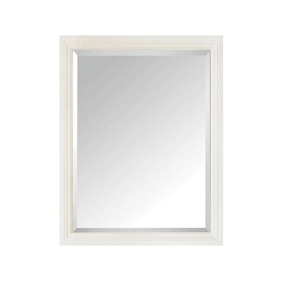Shop avanity 24 in x 30 in white rectangular framed for White framed mirror