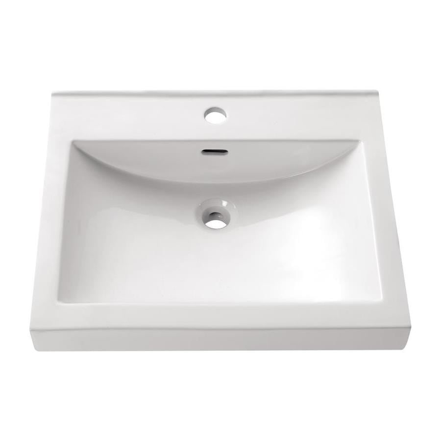 Bathroom Sinks Rectangular Drop In shop avanity white drop-in rectangular bathroom sink with overflow