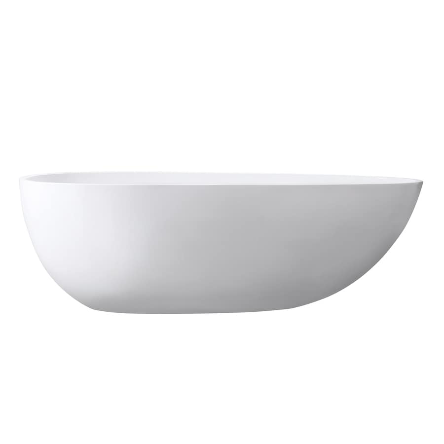 Avanity Glossy White Acrylic Oval Freestanding Bathtub with Center Drain (Common: 33-in x 67-in; Actual: 23-in x 33.5-in x 67-in