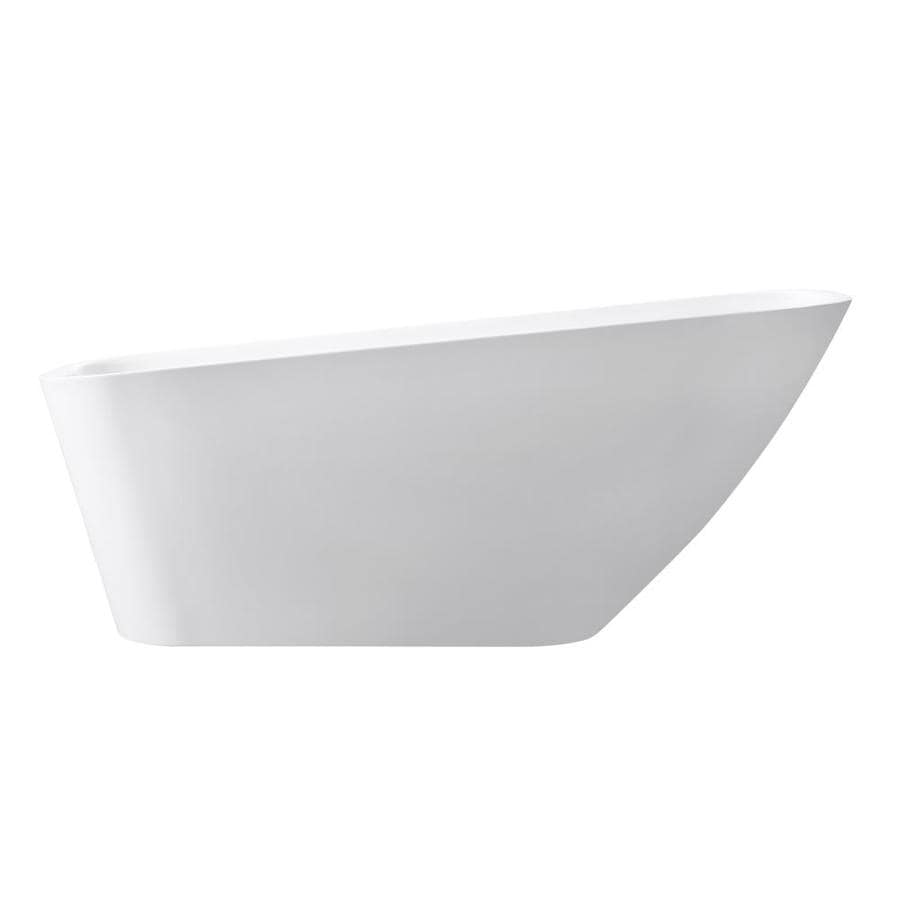 Avanity 66.7-in Glossy White Acrylic Freestanding Bathtub with Reversible Drain