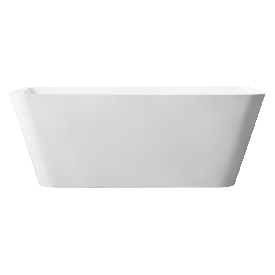 Avanity 63-in Glossy White Acrylic Freestanding Bathtub with Center Drain