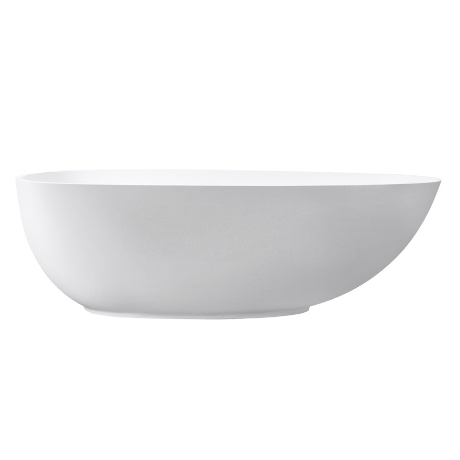 Avanity Matte Solid Surface Oval Freestanding Bathtub with Center Drain (Common: 33-in x 67-in; Actual: 21-in x 33-in x 67.5-in)
