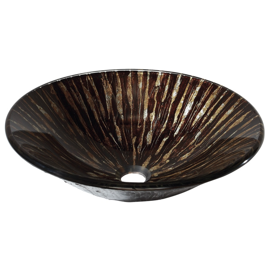 Avanity Golden Ebony Tempered Glass Vessel Round Bathroom Sink
