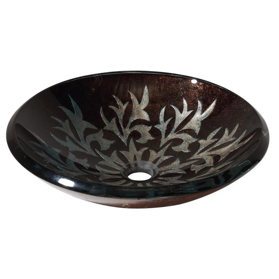 Avanity Autumn Leaf Tempered Glass Vessel Round Bathroom Sink