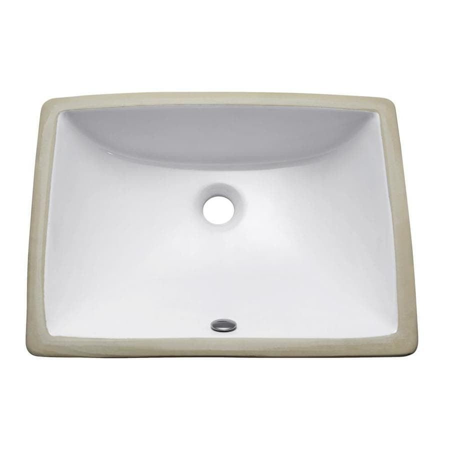 Avanity White Undermount Rectangular Bathroom Sink with Overflow