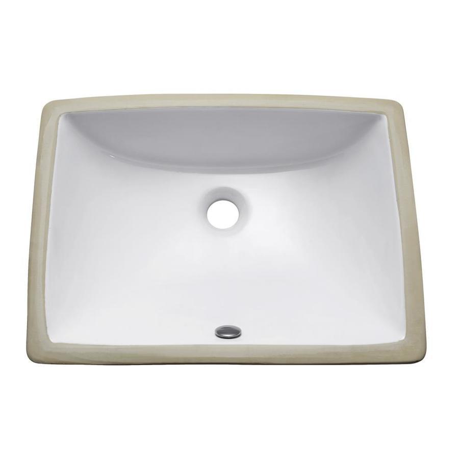 Avanity White Undermount Rectangular Bathroom Sink with Overflow