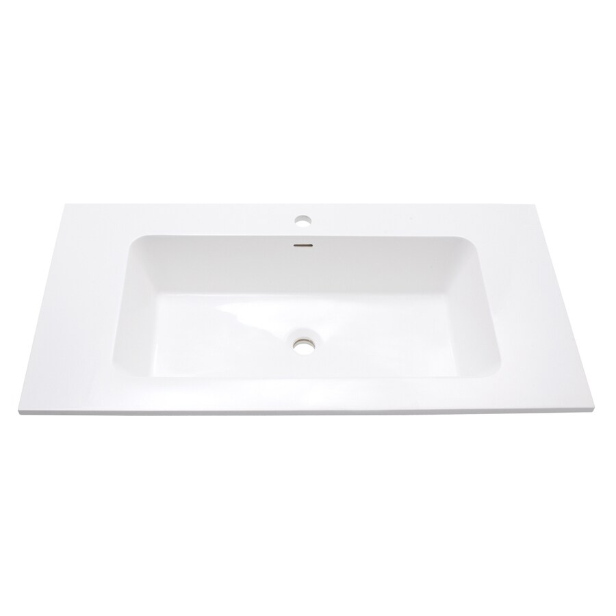 Avanity Versastone Matte White Solid Surface Integral Bathroom Vanity Top (Common: 40-in x 20-in; Actual: 39.4-in x 20.5-in)
