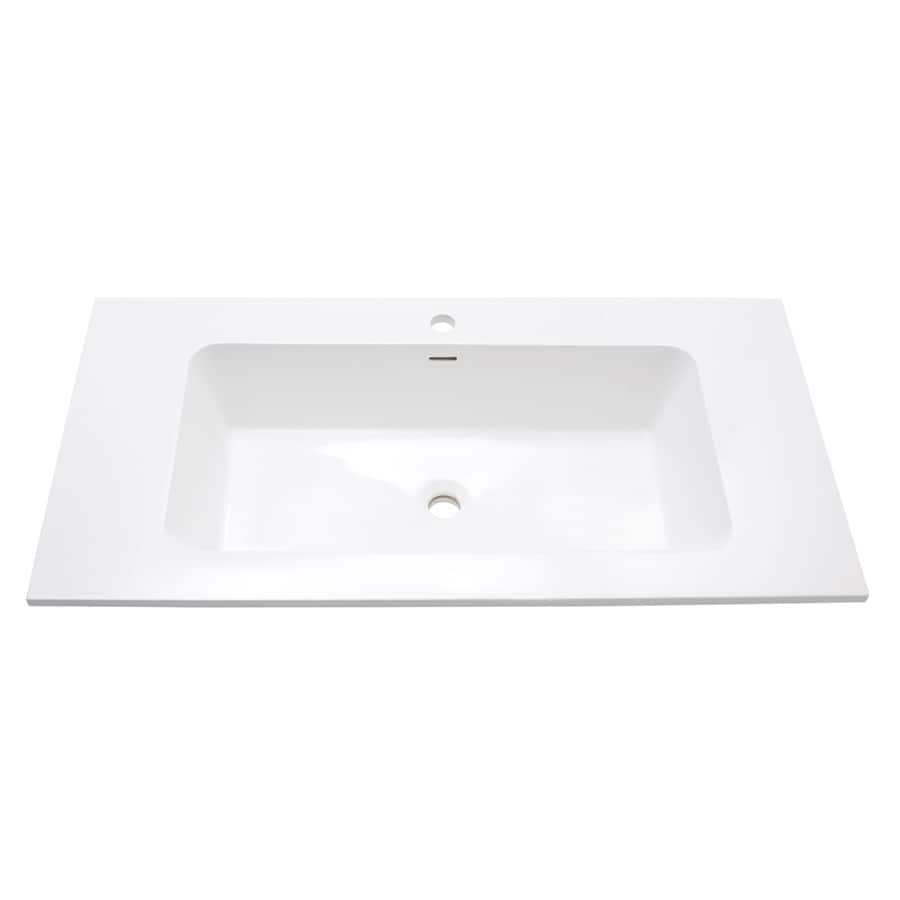Avanity Versastone Glossy White Solid Surface Integral Bathroom Vanity Top (Common: 40-in x 20-in; Actual: 39.4-in x 20.5-in)