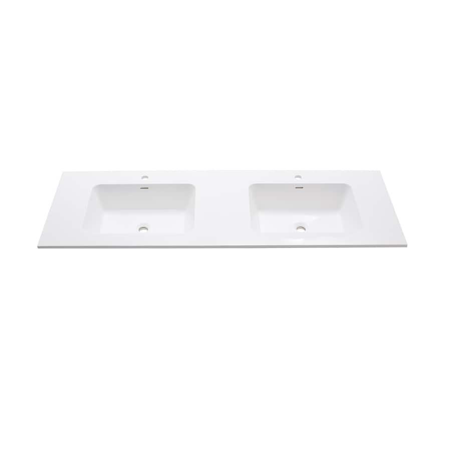 Double Bathroom Vanity Tops Solid Surface : Shop avanity versastone matte white solid surface integral
