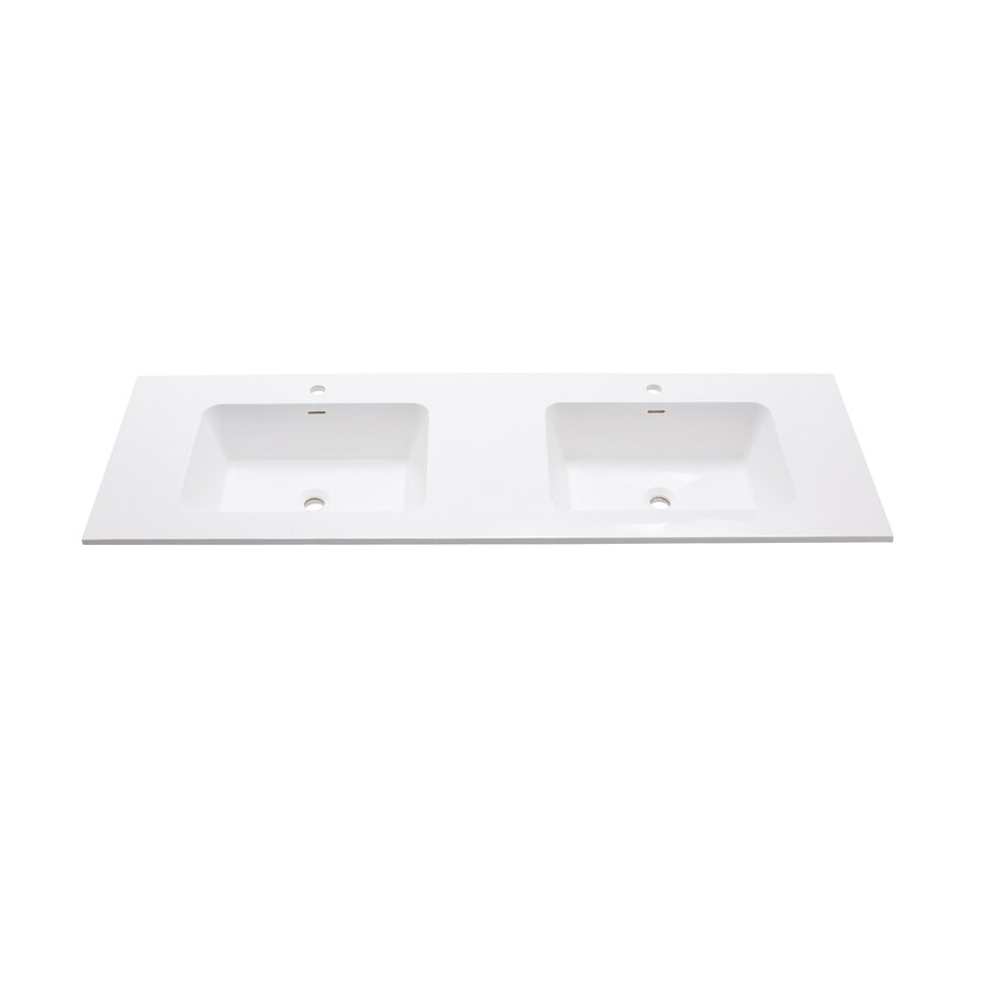 Avanity VersaStone Glossy White Solid Surface Integral Double Sink Bathroom Vanity Top (Common: 61-in x 20-in; Actual: 63-in x 20.5-in)