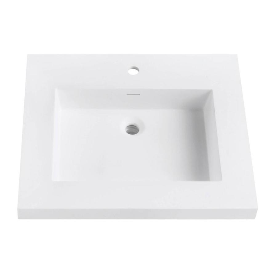 Vanity Tops With Integrated Sink : Shop avanity versastone matte white solid surface integral