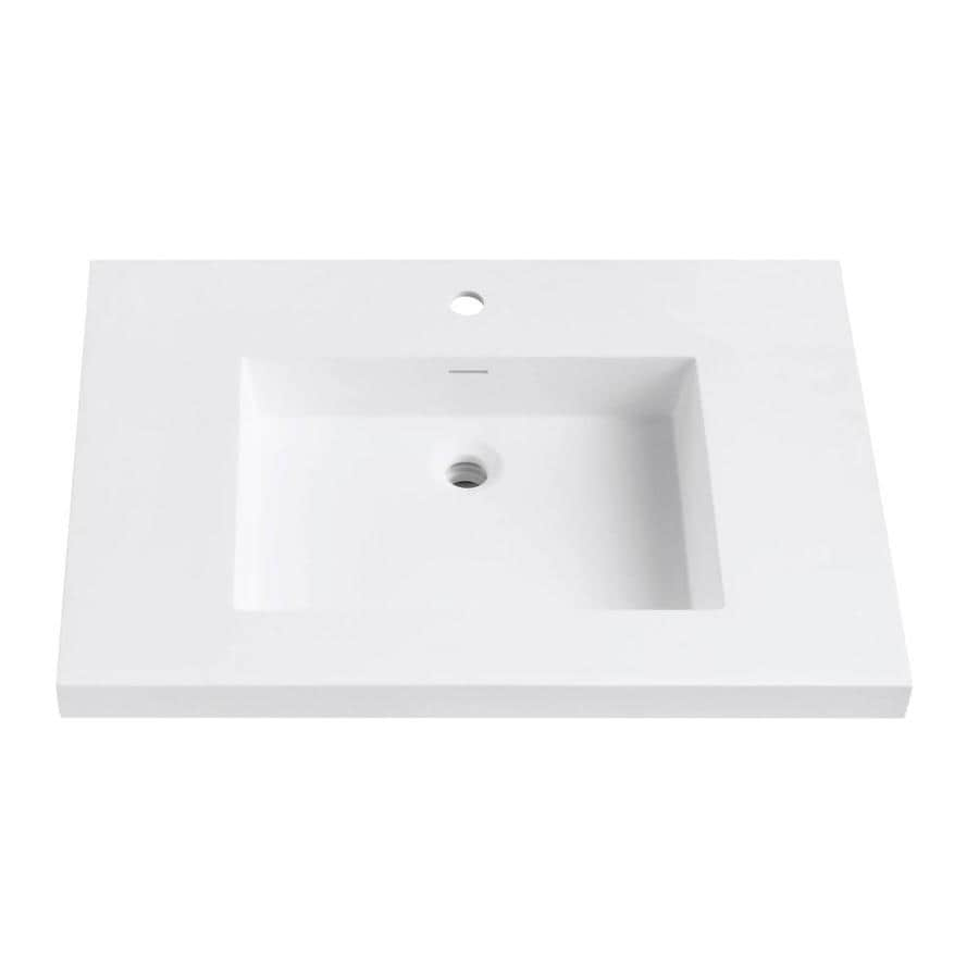 Avanity VersaStone Matte White Solid Surface Integral Single Sink Bathroom Vanity Top (Common: 31-in x 22-in; Actual: 31-in x 22-in)