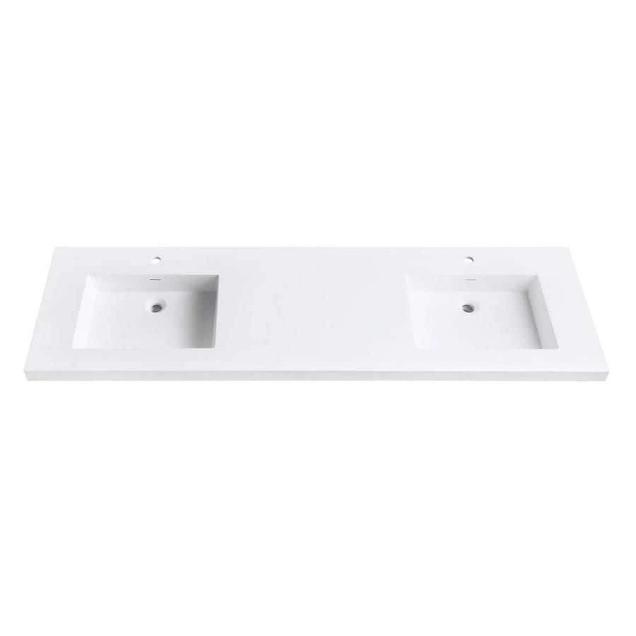 Avanity VersaStone Matte White Solid Surface Integral Double Sink Bathroom Vanity Top (Common: 73-in x 22-in; Actual: 73-in x 22-in)