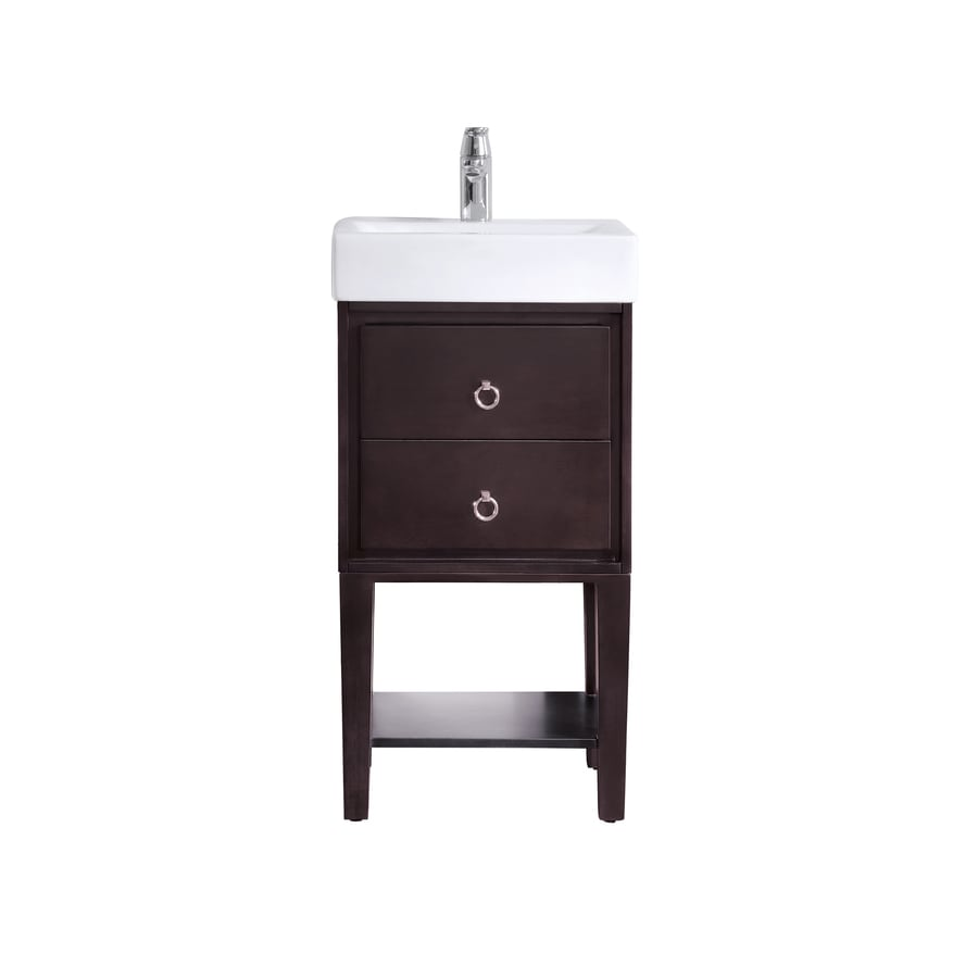 Avanity Coffee 18-in Integral Single Sink Birch/Poplar Bathroom Vanity with Vitreous China Top