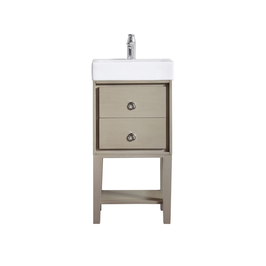 Avanity Kent Taupe Glaze Integrated Single Sink Bathroom Vanity With  Vitreous China Top (Common: