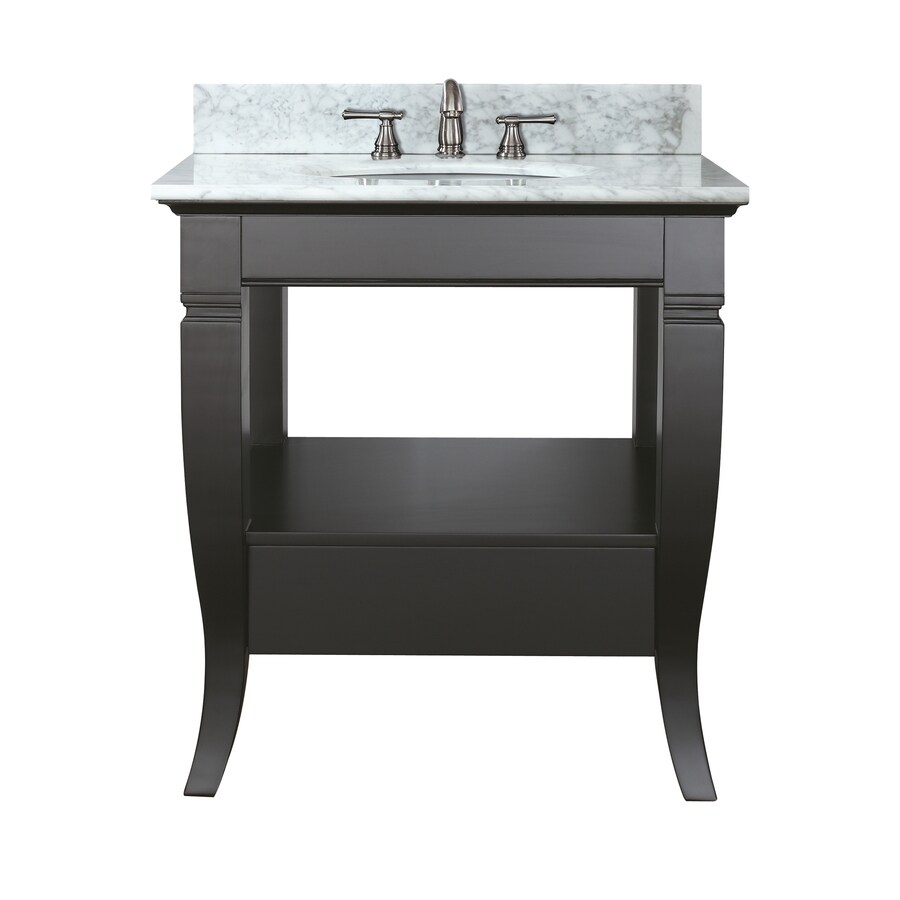 Avanity Milano Black Undermount Single Sink Bathroom Vanity with Natural Marble Top (Common: 31-in x 22-in; Actual: 31-in x 22-in)