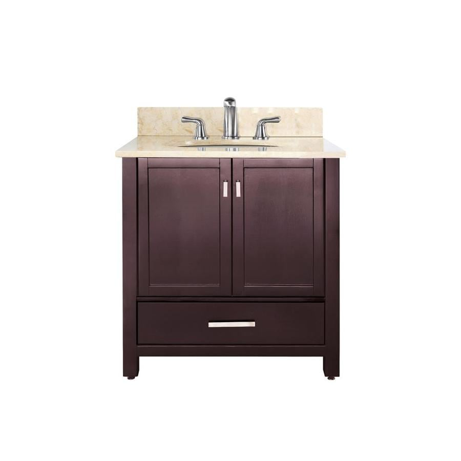 Avanity Modero Espresso 37-in Undermount Single Sink Poplar Bathroom Vanity with Natural Marble Top