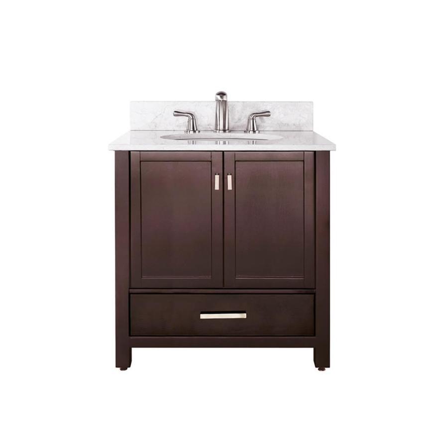 Avanity Modero Espresso Undermount Single Sink Bathroom Vanity with Natural Marble Top (Common: 37-in x 22-in; Actual: 37-in x 22-in)