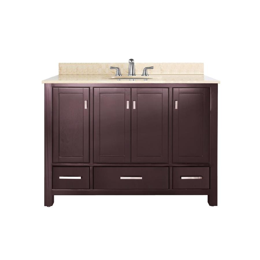 Avanity Modero Espresso 49-in Undermount Single Sink Poplar Bathroom Vanity with Natural Marble Top