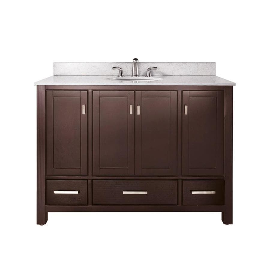 Avanity Modero Espresso Undermount Single Sink Bathroom Vanity with Natural Marble Top (Common: 49-in x 22-in; Actual: 49-in x 22-in)