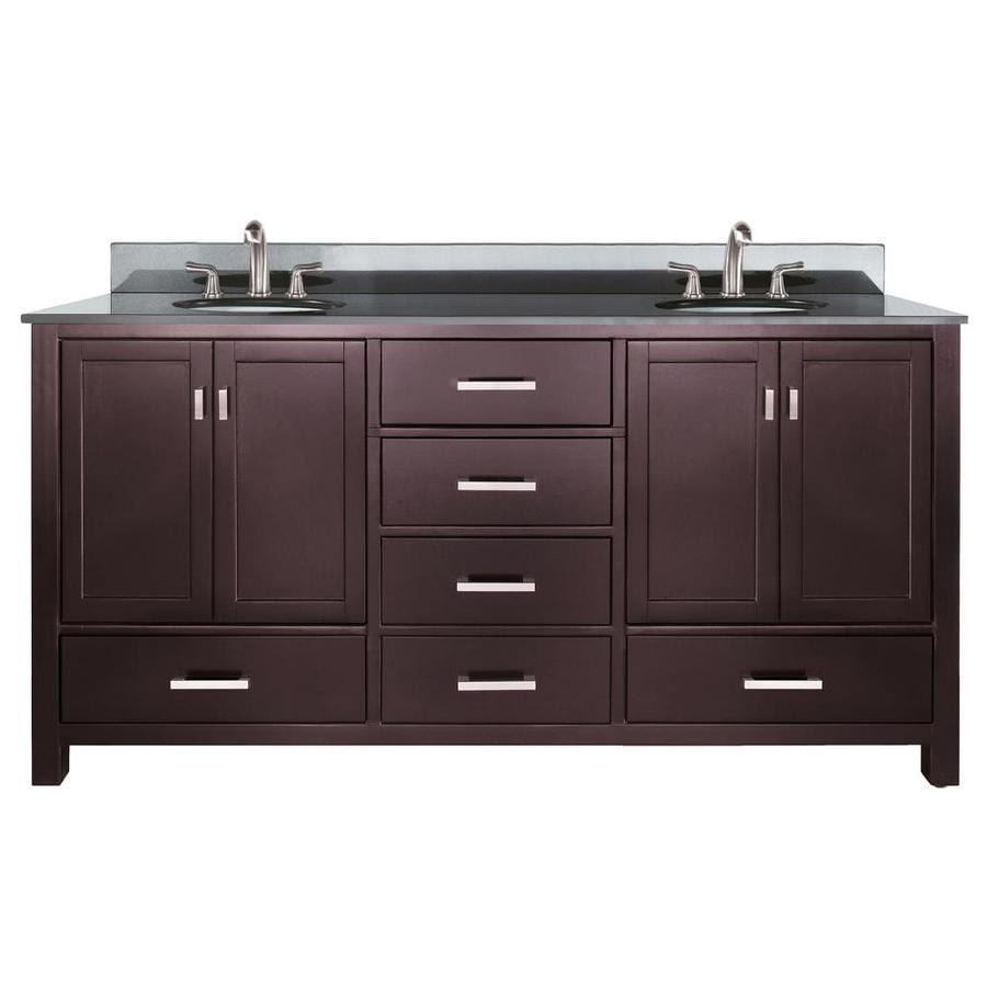Shop avanity modero espresso undermount double sink bathroom vanity with granite top common 73 - Double bathroom vanities granite tops ...