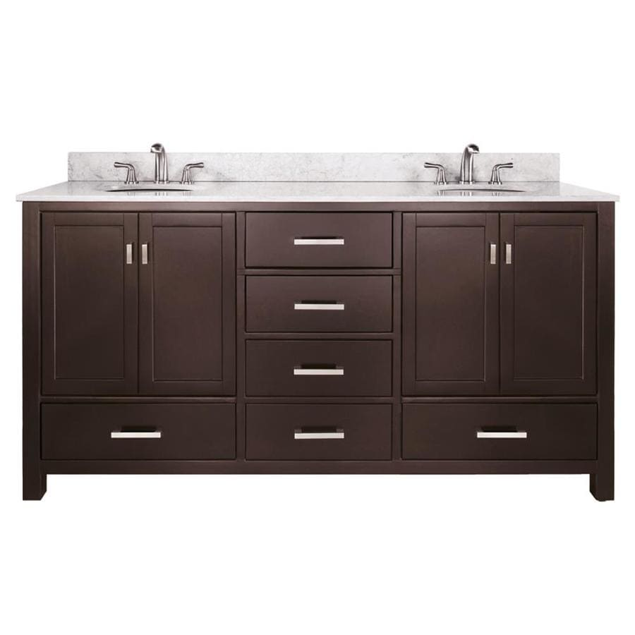 Avanity Modero Espresso (Common: 73-in x 22-in) Undermount Double Sink Poplar Bathroom Vanity with Natural Marble Top (Actual: 73-in x 22-in)