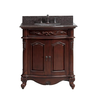 best service ca5bb 00cc8 Provence 31-in Antique Cherry Single Sink Bathroom Vanity with Imperial  Brown Granite Top