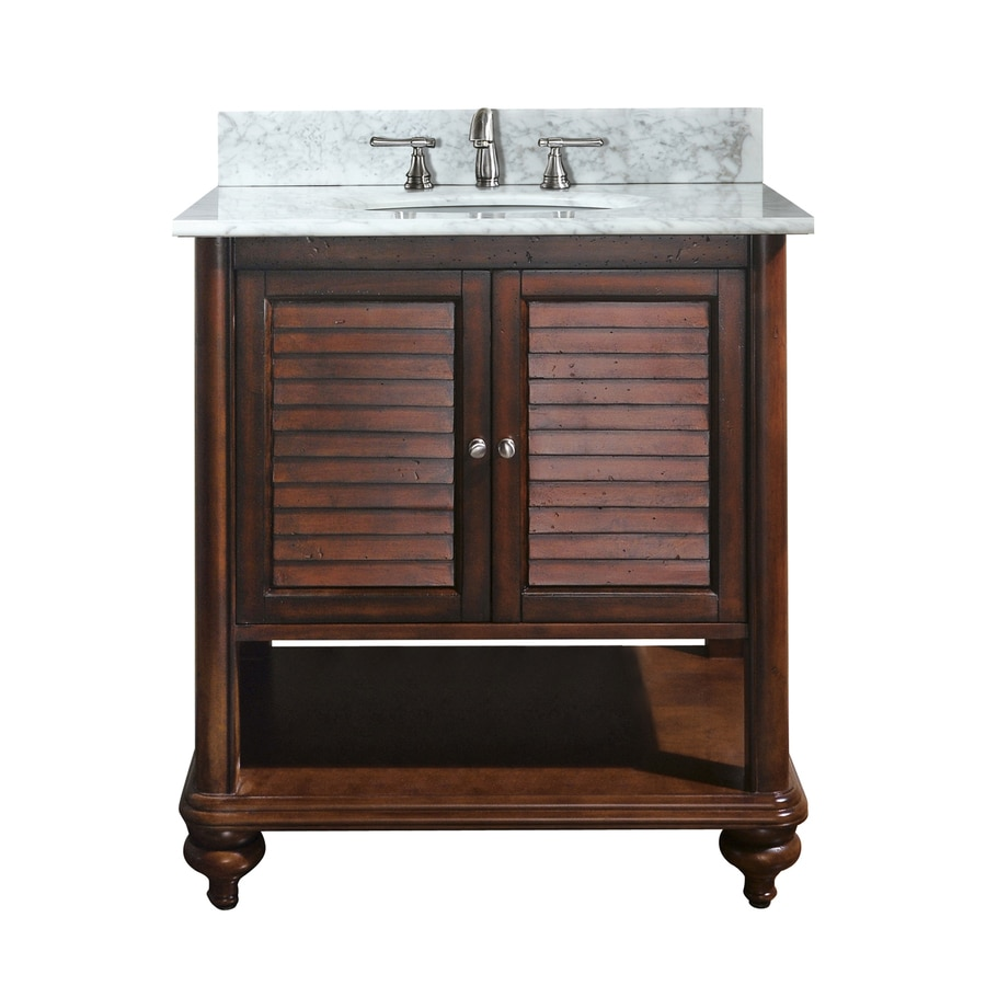 Shop avanity tropica antique brown undermount single sink bathroom vanity with natural marble Stores to buy bathroom vanities