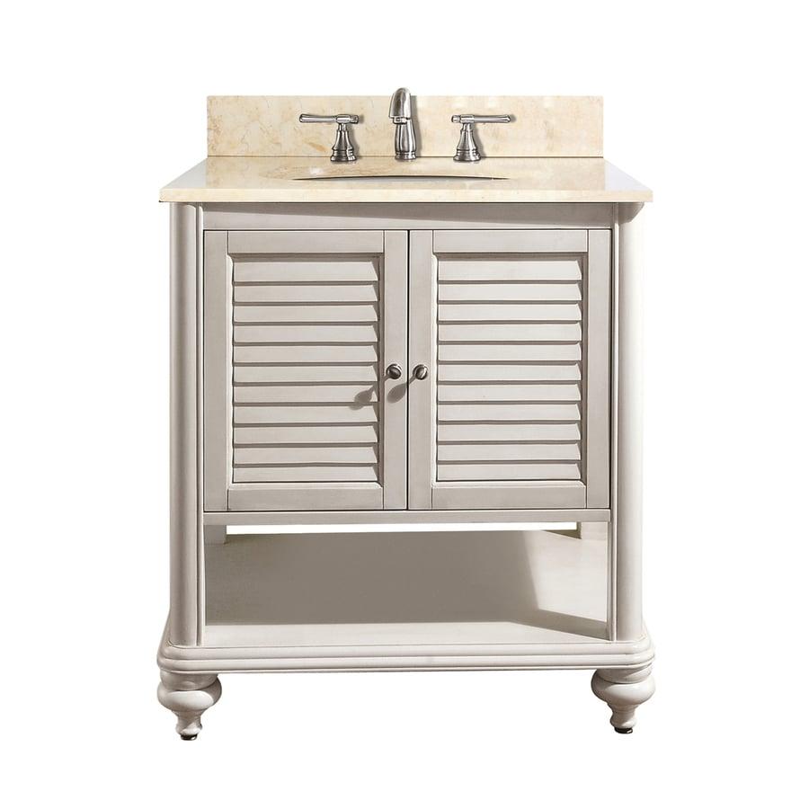 Avanity Tropica White 25-in Undermount Single Sink Poplar Bathroom Vanity with Natural Marble Top