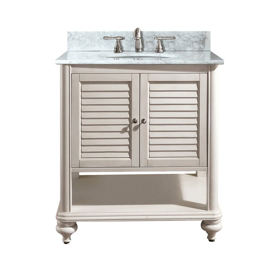 Avanity Tropica White 25-in Undermount Single Sink Poplar Bathroom Vanity with Natural Marble Top