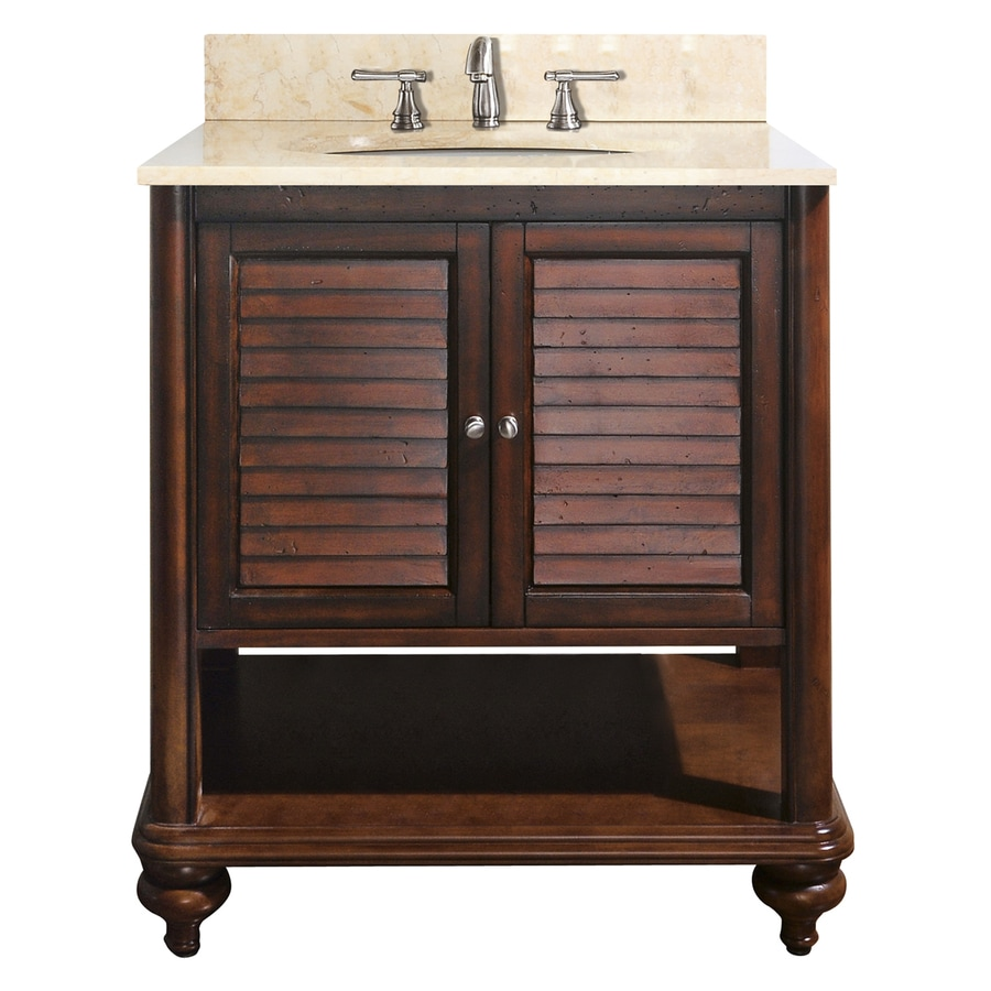 Avanity Tropica Antique Brown Undermount Single Sink Bathroom Vanity with Natural Marble Top (Common: 31-in x 22-in; Actual: 31-in x 22-in)